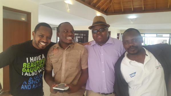 From left, Boniface Mwangi, ItsMutai,His layer 2Olez and BAKE CHariman Kennedy Kacwanya this morning after Mutai's release