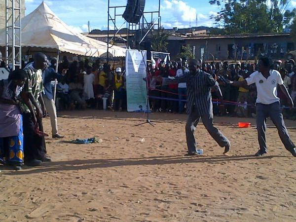 The MAPACA Theatre actors performing the Play at Unoa Grounds during the Jukumu Letu Initiative launch in Makueni County