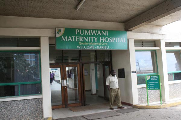 The entrance of Pumwani Maternity Hospital, the the largest maternity hospital in the country and Sub-Saharan Africa
