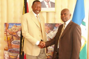 Interior Cabinet Secretary Joseph Nkaissery when he paid a courtesy visit to Makueni Governor Kivutha Kibwana in his office at the County headquarters in Wote  Photo:Governor's Press