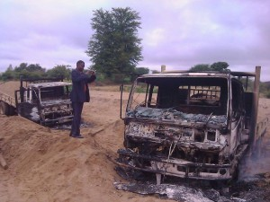 Shells of the two trucks burnt in Kasikeu Photo:Facebook