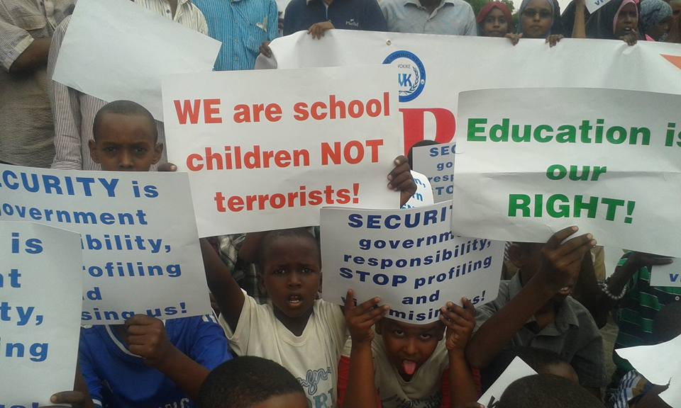 Children during the North Eastern Province demonstrations in Garissa town protesting the education crisis due to lack of teachers