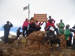 Students of Dedan Kimathi University at Mt Kenya during the 1st Edition of Climb To Educate