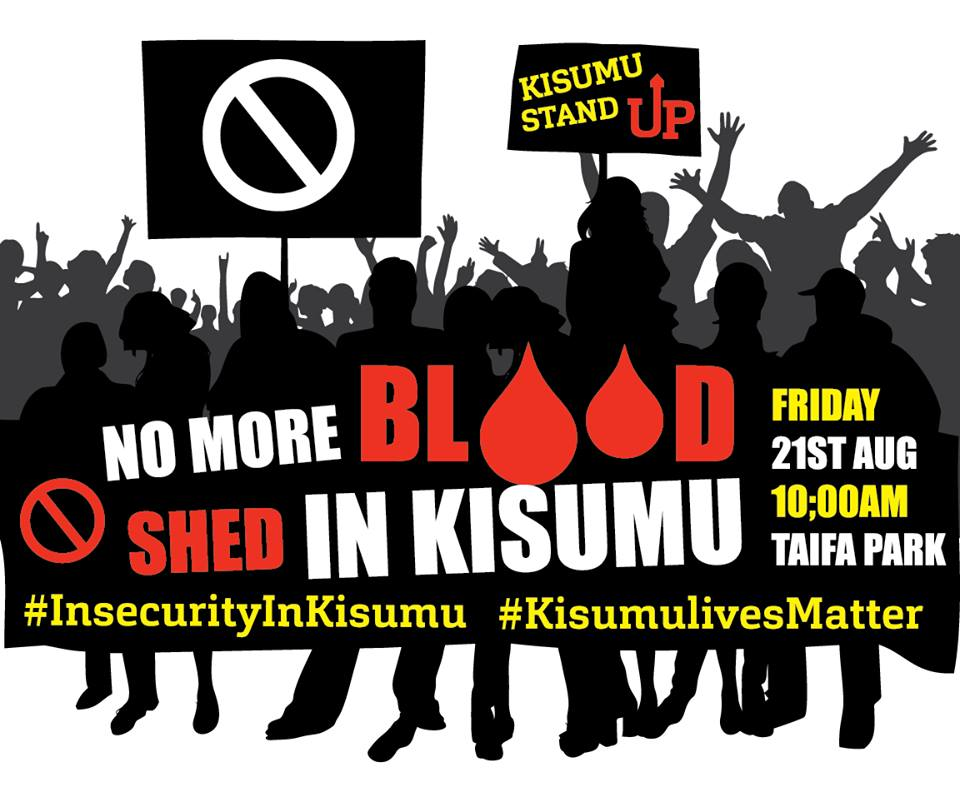 A Peaceful demonstration being organised by Kisumu residents to speak out on growing insecurity