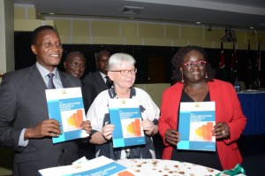 Education Cabinet Secretary Prof. Jacob Kaimenyi leads stakeholders in launching the 2014 basic education statistical booklet.