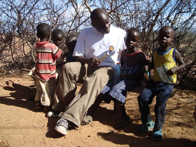 This writer with some of the pupils. Learning has many challenges in Turkana. [Photo: Malachi Motano]