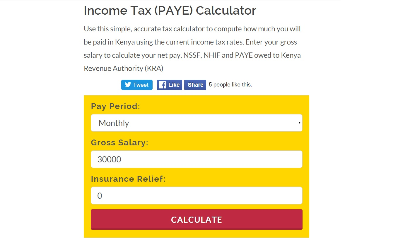 A screenshot of the tax calculator on KRA's website. This is a tool one can use to tell how much they pay in taxes. [Photo: Njenga N]